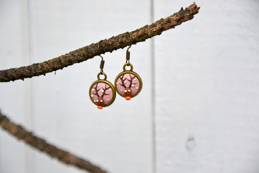 polymer clay embroidery reindeer pink earrings