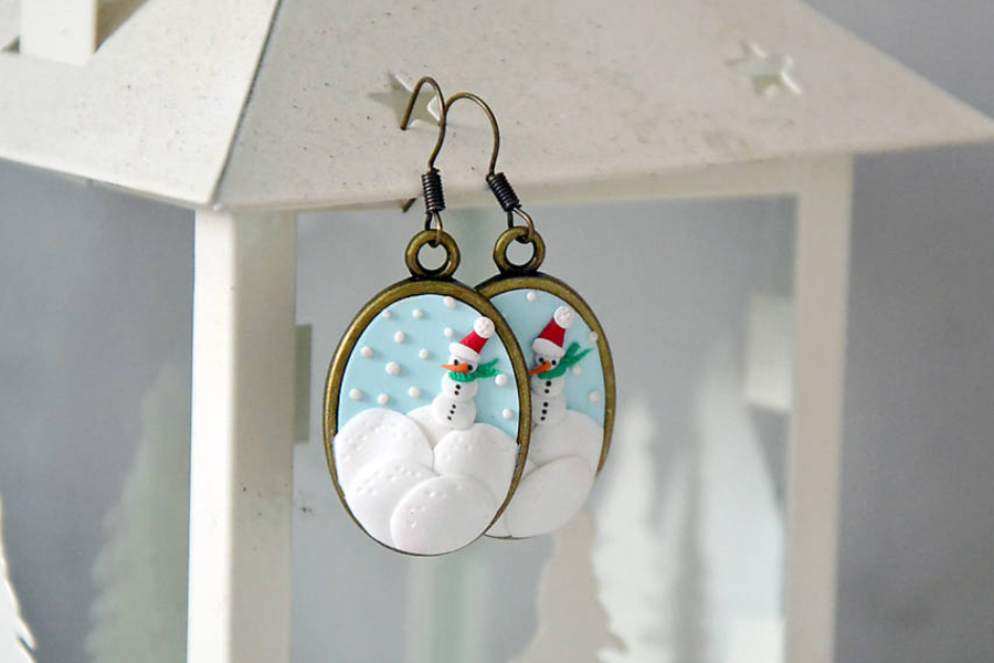 polymer clay embroidery snowman earrings