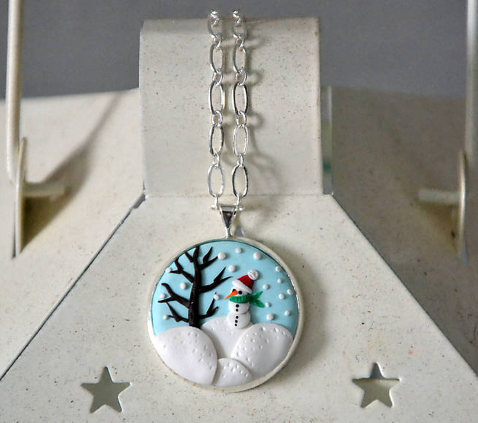 polymer clay embroidery snowman pendant