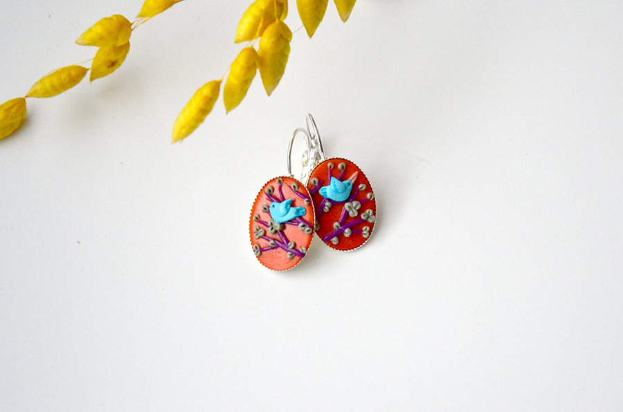 polymer clay easter earrings