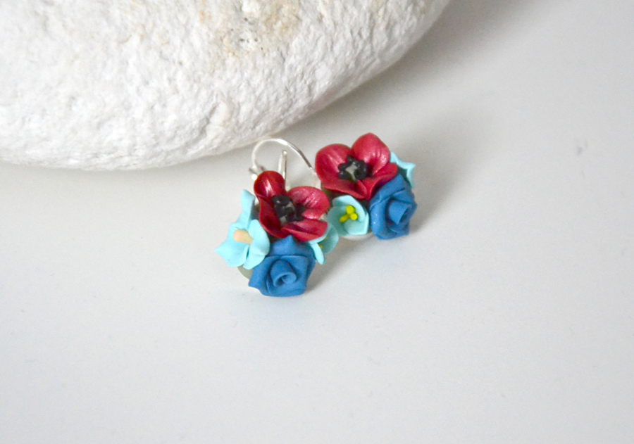 Poppy flower polymer clay earrings 4
