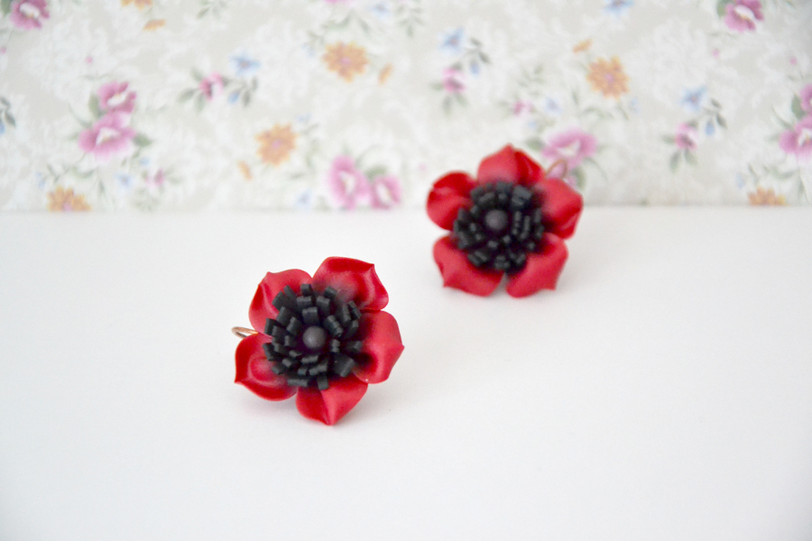Poppy flower polymer clay earrings 5