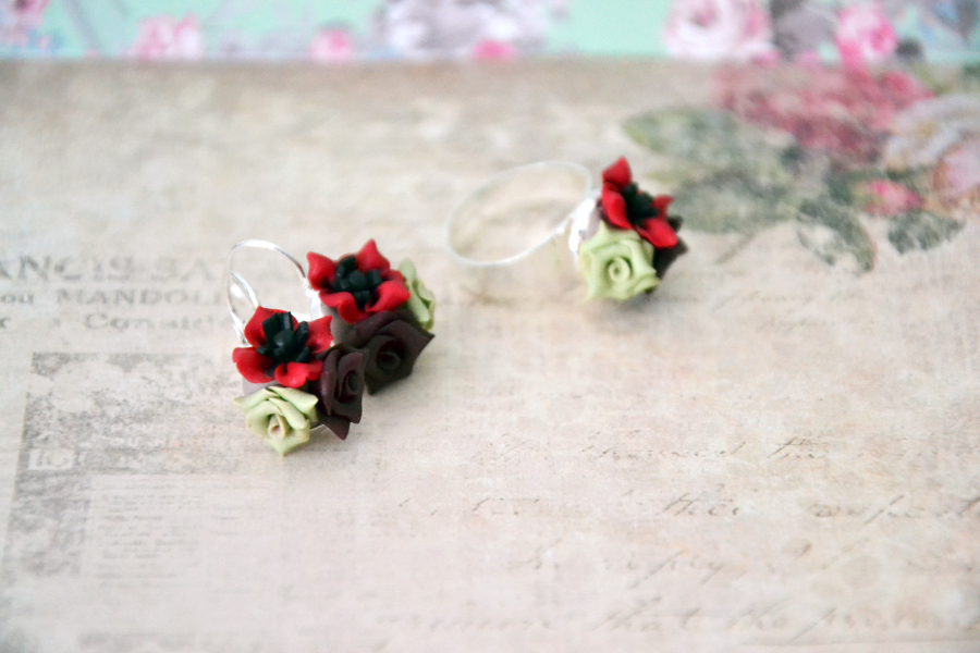 Poppy flower polymer clay earrings 6