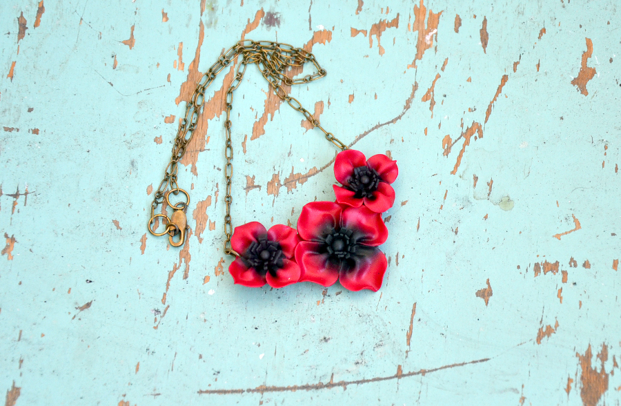 Poppy flower polymer clay necklace 2