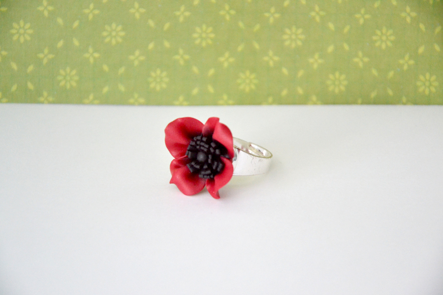 Poppy flower polymer clay ring