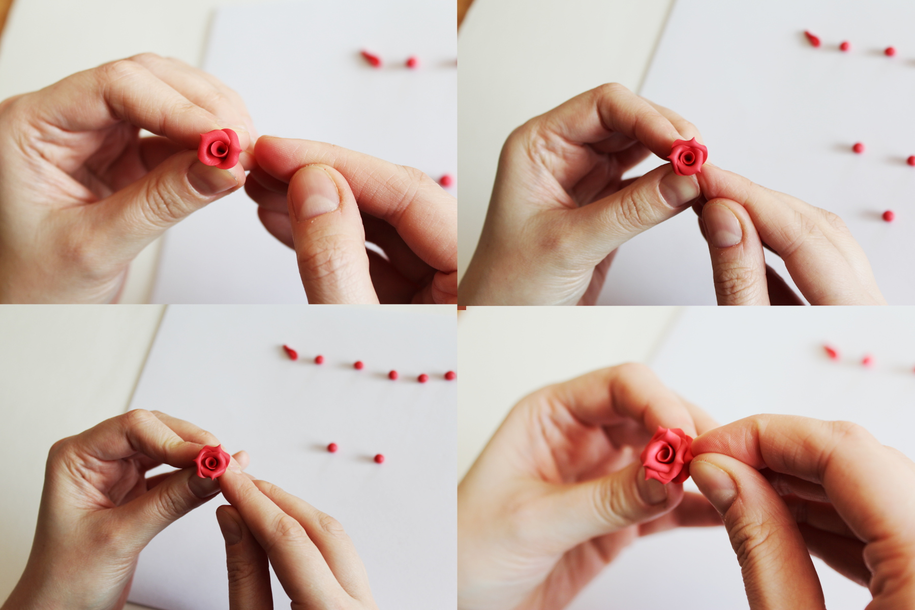 valentine rose polymer clay tutorial 10