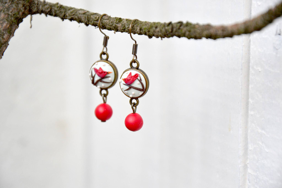 polymer clay embroidery birds earrings