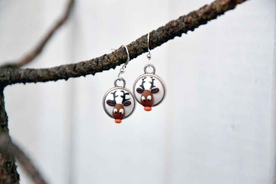polymer clay embroidery reindeer white earrings