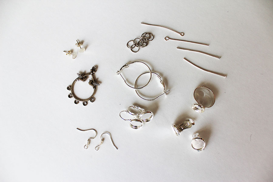 Earring components for beginners.