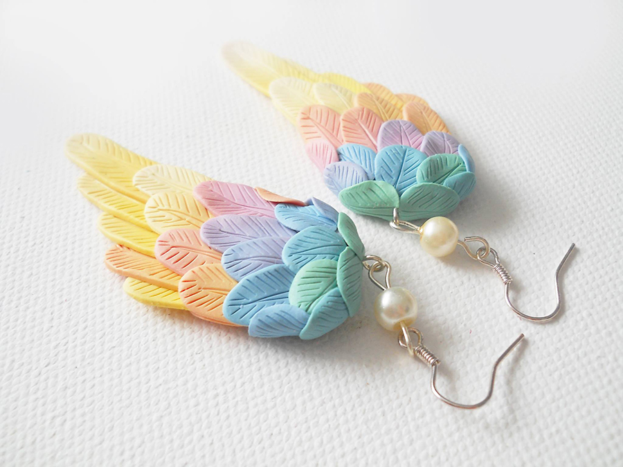 polymer clay angel wings 4