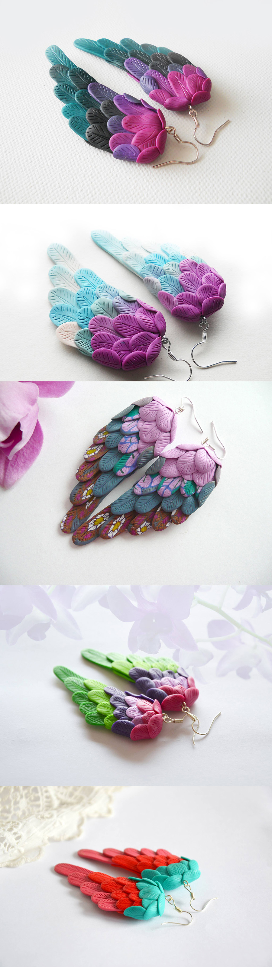 polymer clay angel wings collection