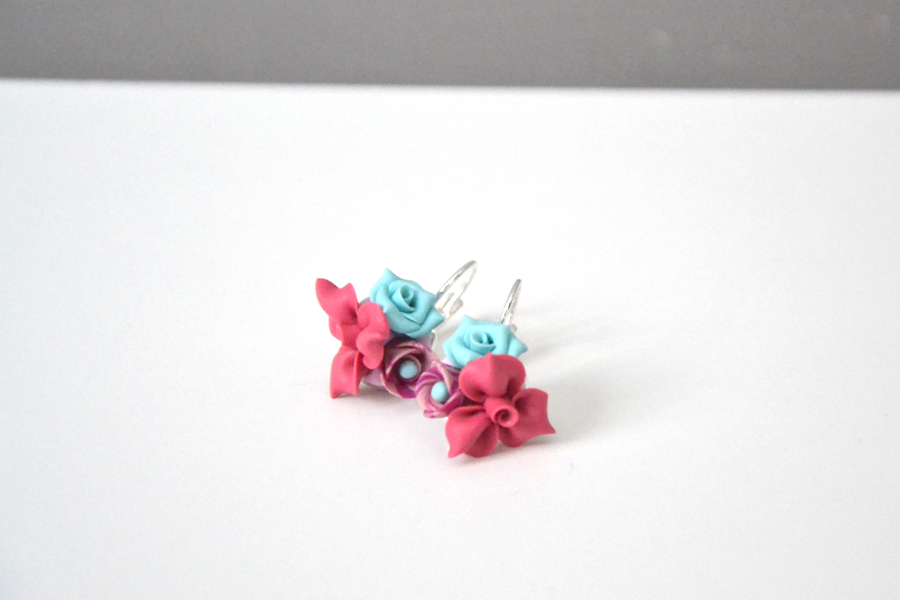 polymer clay mini roses earrings 1