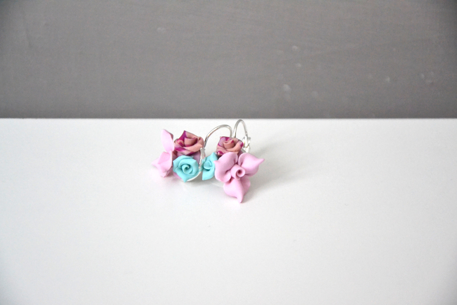 polymer clay mini roses earrings 2