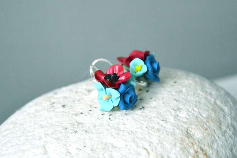 polymer clay mini roses earrings 3