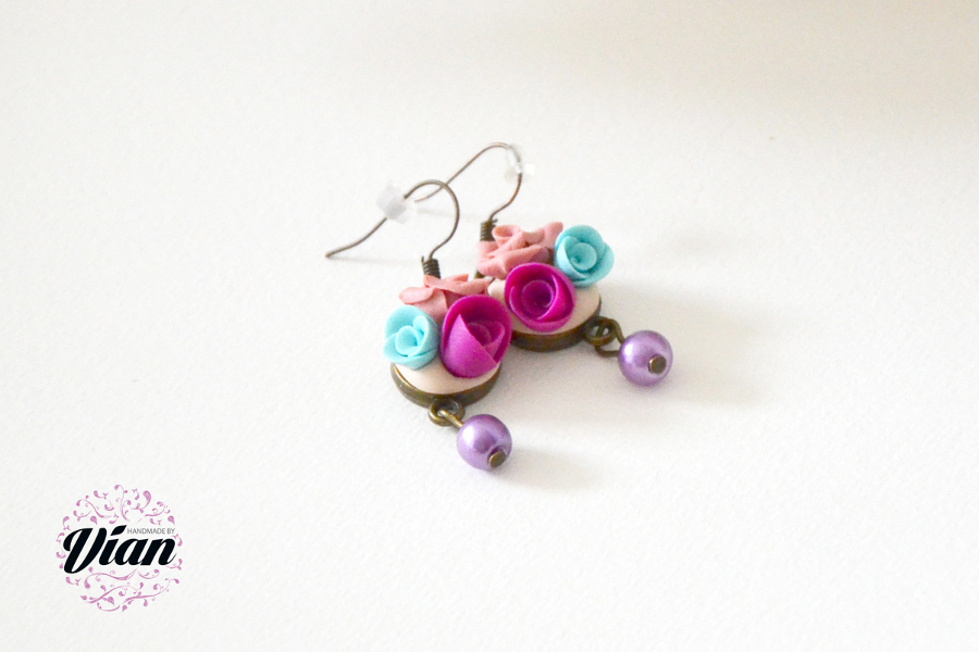 polymer clay mini roses earrings 4