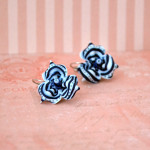 7 variations of navy stripes earrings