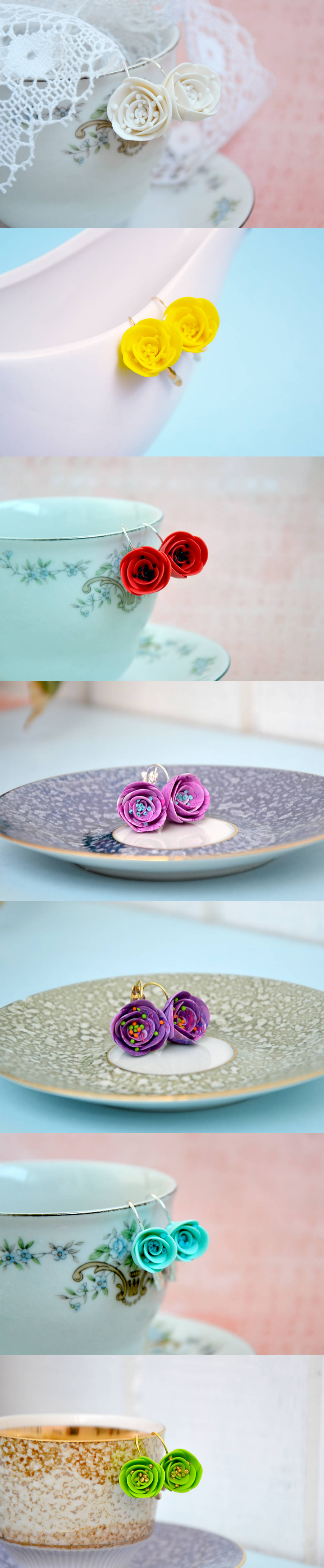 polymer clay colorful flower earrings