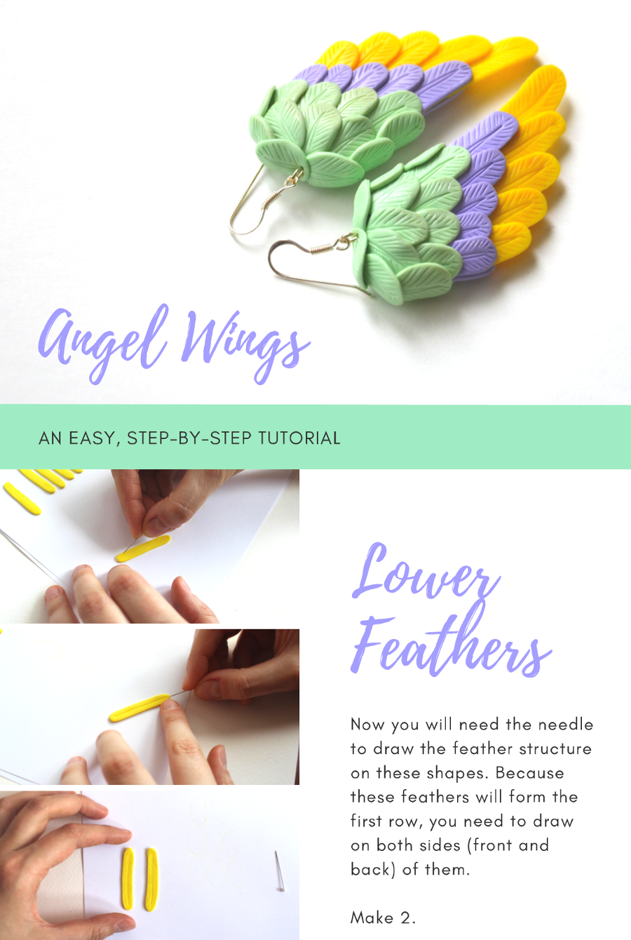 Angel Wings | Polymer Clay Earrings Step by Step Tutorial